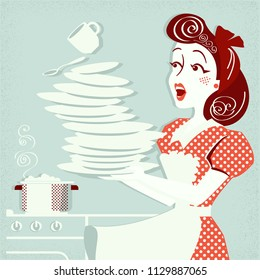 Portrait of clumsy attractive woman falling plates and dishes in her kitchen.Vector vintage illustration