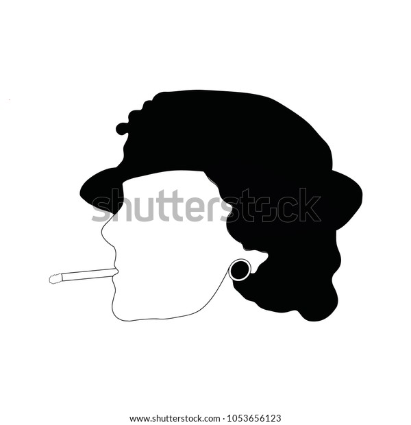 Portrait Coco Chanel French Fashion Designer Stock Vector Royalty Free 1053656123