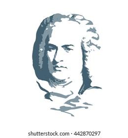 portrait of the composer and musician  Johann Sebastian Bach