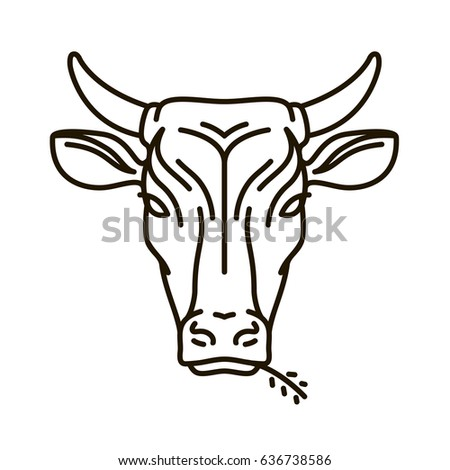 Portrait Cow Farm Animal Bull Icon Stock Vector Royalty Free