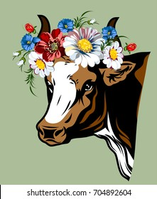 Portrait of a cow with a lush wreath of wildflowers on the head