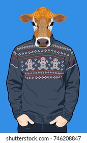 Portrait of a cow in a man's knitted sweater with patterns in the form of little men
