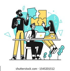 Portrait of creative business team standing together. Succesfull Team concept illustration. Modern outline style