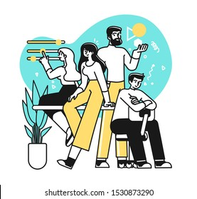 Portrait of creative confident business team standing together. Succesfull Team concept illustration. Modern outline style