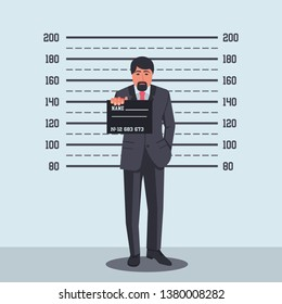 Portrait of criminal. Arrested photo. Guilty businessman in police station, sign in hand on criminal photo. Accused of political illegal activities. Vector illustration design. Corruption and bribery.
