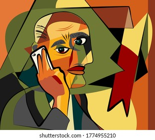 portrait cubism art style,man calls on a cell phone