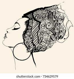Portrait of cute african woman with hat (profile) - vector illustration  (totally fictitious)