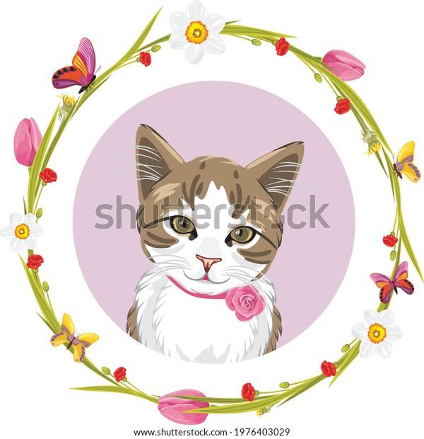 portrait-cute-cat-floral-frame-600w-1976