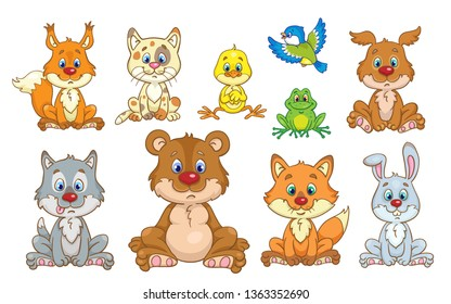 Portrait of cute forest animals.  In cartoon style. Isolated on white background.