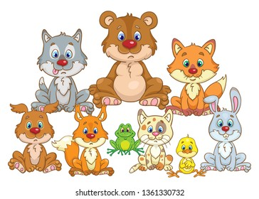 Portrait of cute forest dwellers. Bear cub, wolf cub, chanterelle, rabbit, kitten, dog, chick, frog and squirrel are sitting in the meadow. In cartoon style. Isolated on white background.