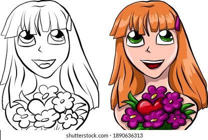 portrait of cute girl with flowers and heart. red gorl portrait in love