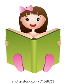 Portrait of cute girl with open book