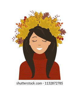 Portrait of a cute girl in a wreath of autumn leaves on her head. There are leaves of maple, oak and other trees in the picture. There are also red berries here. Vector illustration