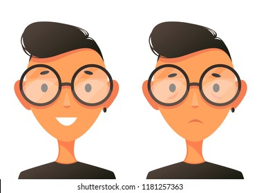 Portrait of a cute guy wearing glasses. Two emotions. Sad and cheerful. Vector cartoon illustration. Character Design