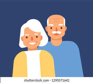 Portrait of cute happy elderly couple. Smiling old man and woman, grandparents. Grandfather and grandmother standing together. Granddad and grandma. Colorful vector illustration in flat cartoon style.