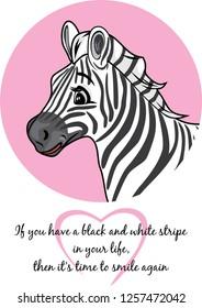 Portrait of a cute joyful zebra. Vector