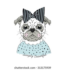 e126381c8 portrait of cute pug doggy hipster girl, hand drawn graphic, kid print