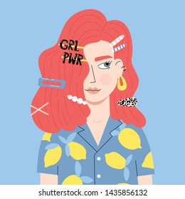 Portrait of the cute red-haired girl with trendy hair clips. Vector illustration in cartoon style.
