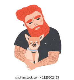 Portrait of cute redhead bearded man with tattoos holding his dog or puppy. Funny male cartoon character embracing domestic animal. Adorable pet owner. Colorful vector illustration in flat style.
