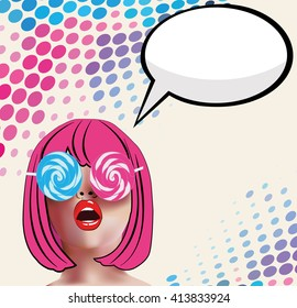 Portrait cute retro woman with candy sunglasses in comics style, vector illustration.