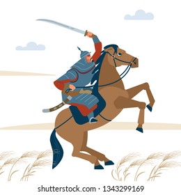 Portrait of dangerous, nomad mongol man riding brown horse in steppe holding sword attacking. Central Asian warrior horseman, ready to attack in battle. Isolated vector illustration in flat style
