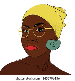 Portrait of a dark-skinned woman in a headscarf. Afro american girl Illustrations of a girl from the southern countries. Print design. - Vector