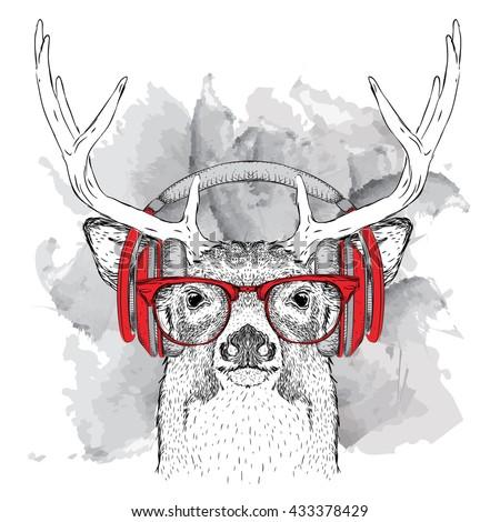 ee86c532037 Portrait Deer Glasses Headphones Vector Illustration Stock Vector ...