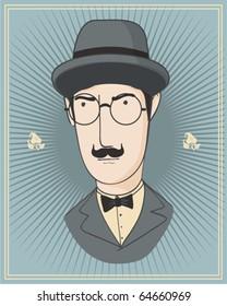 portrait of detective Poirot