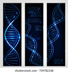 Portrait digital banners with glowing neon DNA chain. Abstract scientific background in deep blue colours. Beautiful vector illustration. Biotechnology, biochemistry, genetics and medicine concept.