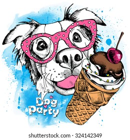 Portrait of a dog Australian shepherd wearing glasses with the ice cream. Vector illustration.