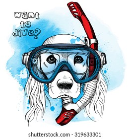 Portrait of a dog in blue diving mask with red tube. Vector illustration.