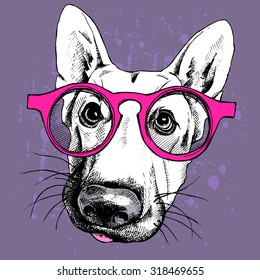 Portrait of a dog German shepherd in pink glasses on violet background. Vector illustration.