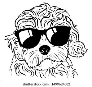 Portrait of a dog in glasses. Vector heads of dog breeds of goldendoodle. Black-white drawing of pets....
