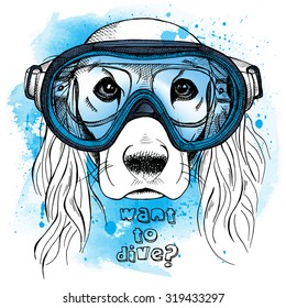 Portrait of a dog with long ears in a diving mask on blue background. Vector illustration.