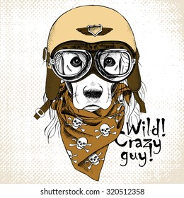 Portrait of a dog wearing the retro motorcyclist helmet and neckerchief with images a skull. Vector illustration.