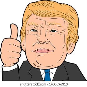 Portrait of Donald Trump doing thumbs up