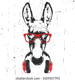 Portrait of Donkey with glasses and headphones. Hand-drawn illustration. T-shirt design. Vector