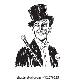 Portrait of the elegant cheerful man. Art Deco and Nouveau Epoch. The gentleman in a tuxedo and a top hat, holds a cane in hand. Hand drawn vector illustration,  engraved style