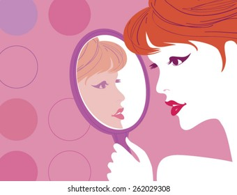 Portrait of elegant woman with curly hair looking at reflection in mirror