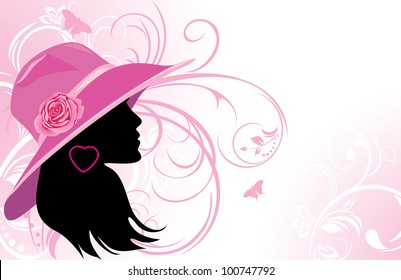 Portrait of elegant woman in a hat. Fashion background. Vector