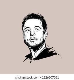 Portrait of Elon Musk Vector