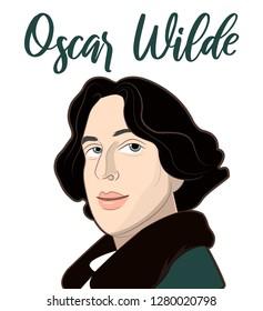 Portrait of English writer Oscar Wilde in a cartoon style vector.