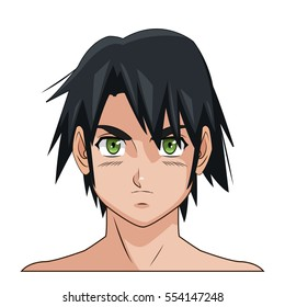 portrait face manga anime male black hair green eyes
