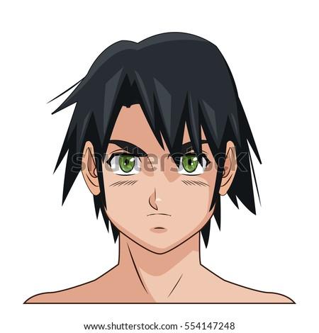 Portrait Face Manga Anime Male Black Stock Vector Royalty Free