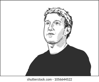 Portrait of the Facebook CEO Mark Zuckerberg. Vector  Moscow, March 27, 2018.