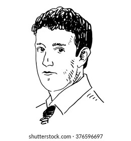 Portrait of the Facebook CEO Mark Zuckerberg. Vector freehand pencil sketch. Moscow, October 02, 2012.