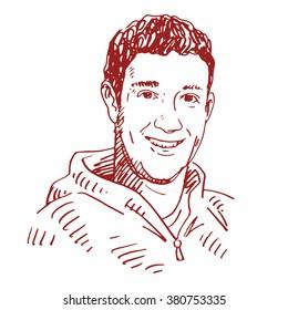 Portrait of the Facebook CEO Mark Zuckerberg. Vector freehand pencil sketch. Moscow, October 01, 2012.