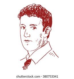 Portrait of the Facebook CEO Mark Zuckerberg. Vector freehand pencil sketch. Moscow, October 02, 2012.
