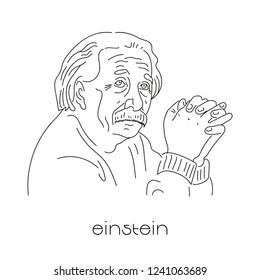 Portrait of famous physicist. Albert Einstein. Black lines on white background.