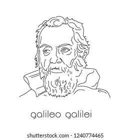 Portrait of famous physicist. Galileo Galilei. Black lines on white background.